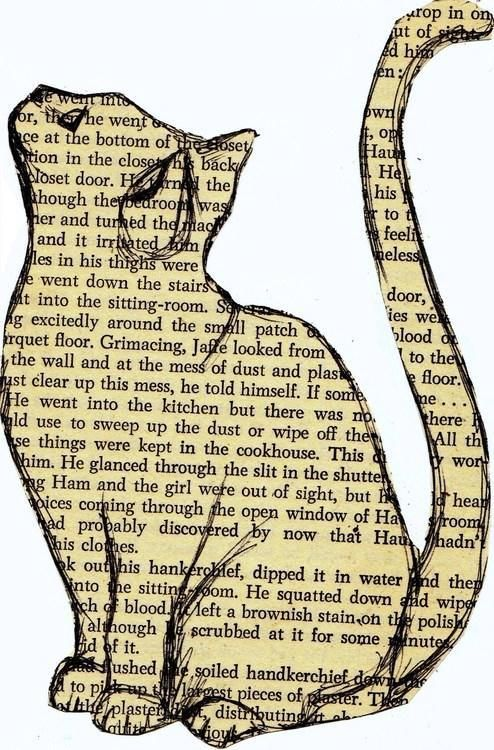 """Story Cat"" by mary-paints, (on a stolen page of 1952 mystery novel, ""A Lotus for Miss Quonne"")"