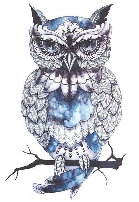 Image via We Heart It https://weheartit.com/entry/157784335/via/19013813 #background #blue #drawing #owl #popular #wallpaper