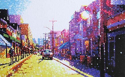 "Susan Gale, Pedestrian Sunday, oil on panel, 36""x60"". $2000"