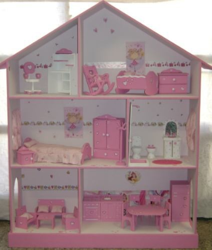 Casita De Muñecas, Barbie, Pintada Y Decorada
