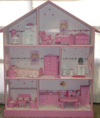 Casita De Muñecas, Barbie, Pintada Y Decorada