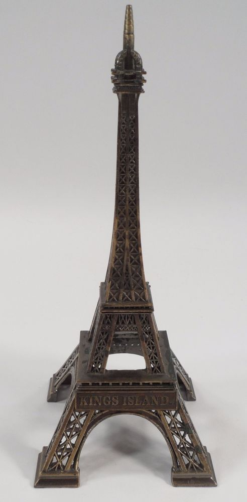 "1970s 9 1/2"" Tall Kings Island Ohio Amusement Park Metal Eiffel Tower Souvenir"