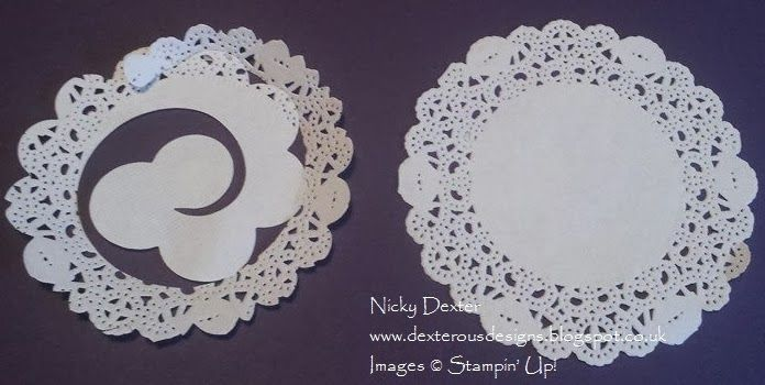 Use the Stampin' Up! Spiral Flower Die to cut shabby flowers from the Tea Lace Doily - full details on my blog dexterousdesigns.blogspot.co.uk