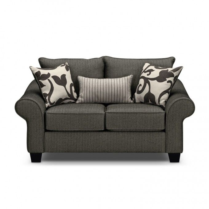 beautiful colette gray loveseat sleeper at american signature furniture with throws and lumbar. Black Bedroom Furniture Sets. Home Design Ideas