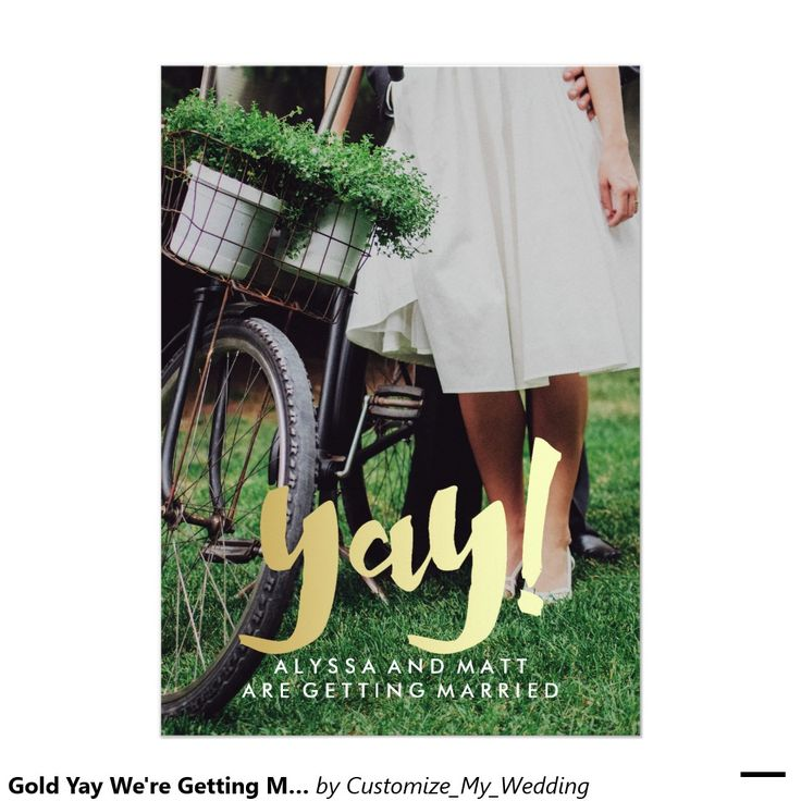 zazzle wedding invitations promo code%0A Gold Yay We u    re Getting Married Save the Date Photo  x  Paper Invitation Card