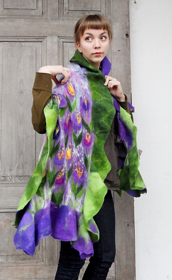 Impressive silk and wool long ruffle scarf with decorative spring floral motif. Green and purple symphony of spring!. I felted delicate purple silk