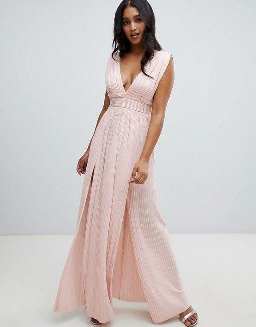 58a73d3ba66c DESIGN Premium Lace Insert Pleated Maxi Dress   ♡ F A S H I O N ♡    Vestidos, Vestidos largos, Vestido de calle