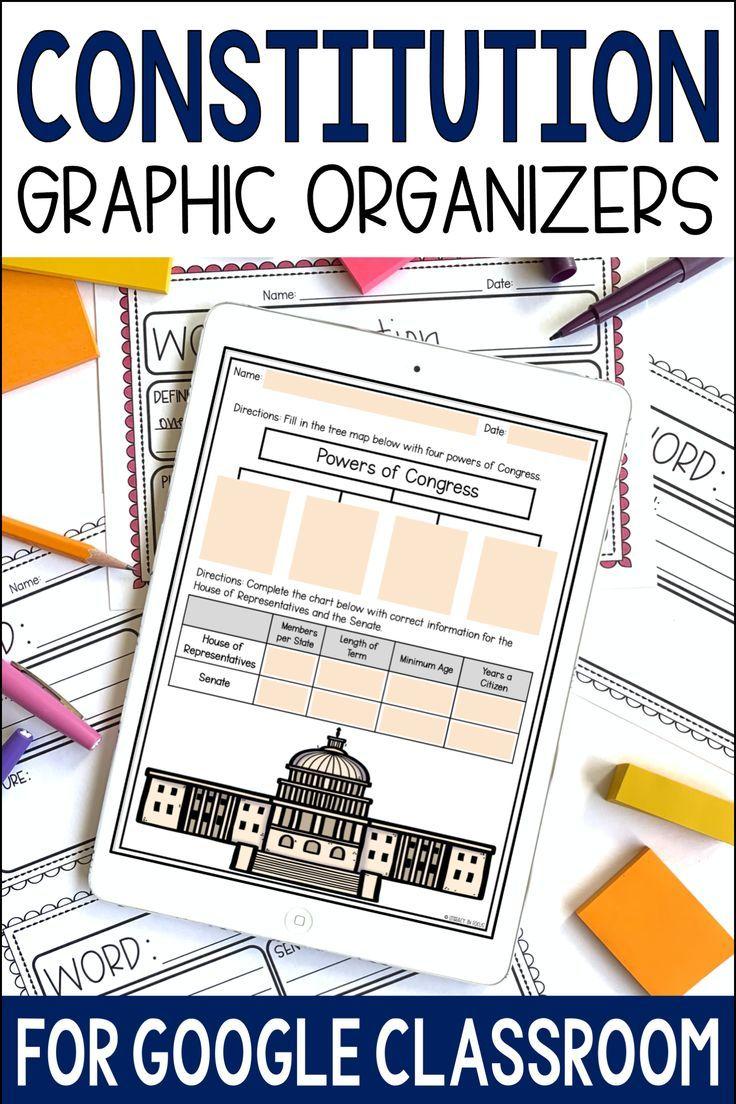 Constitution Worksheets And Activities For Kids Graphic Organizers High School Math Activities Google Classroom Activities [ 1104 x 736 Pixel ]