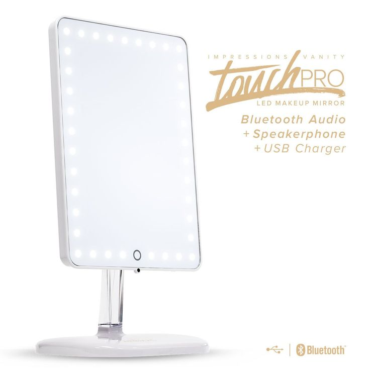 Touch Pro LED Makeup Mirror with Bluetooth Audio Speakerphone & USB Charger