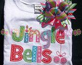 Jingle Bells Applique Shirt and Matching Hairbow - Christmas - Holiday - Winter - Santa
