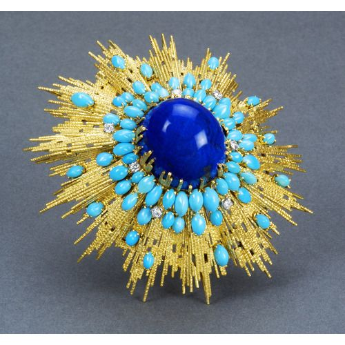 DESIGN FOR A TURQUIOSE, LAPIS LAZULI, DIAMOND AND YELLOW GOLD TEXTURED WIRE BROOCH by Andrew Grima