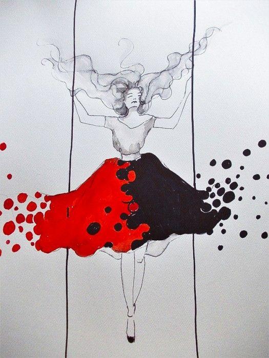 """""""MOGĘ WSZYSTKO"""" praca akwarelą i piórkiem  wykonana przez artystkę plastyka Adrianę Laube na papierze A3."""