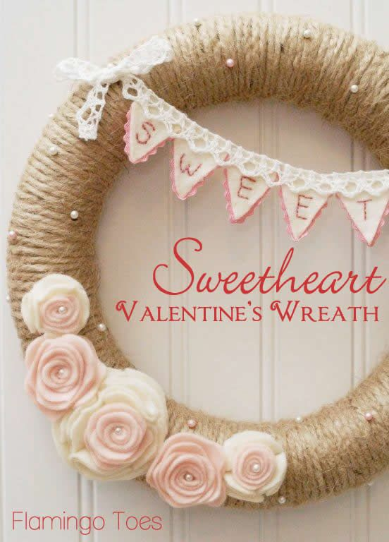 Sweetheart Valentine's Day Wreath - Rustic and romantic Valentine's Day craft.