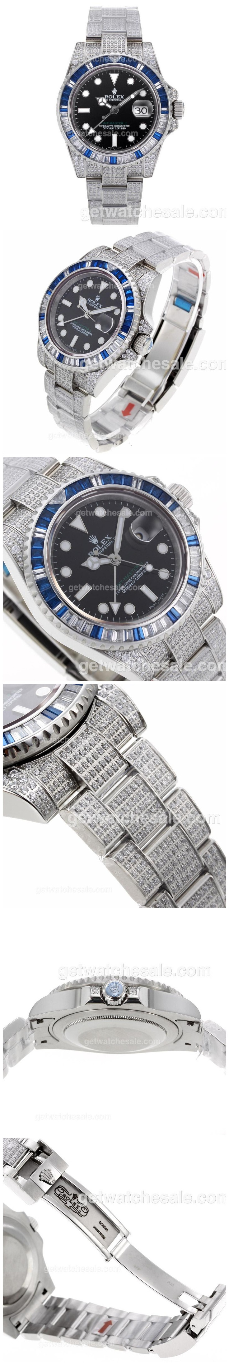 Rolex GMT-Master II Swiss ETA 2836 Movement Blue/White CZ Diamond Bezel with Full Diamond Strap ,sale $918.00