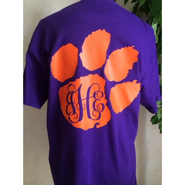 Clemson Tiger Paw Monogram Football T Shirt ($18) ❤ liked on Polyvore featuring tops, t-shirts, black, women's clothing, unisex shirts, vinyl shirt, tiger stripe t shirt, monogrammed shirts and unisex t shirts