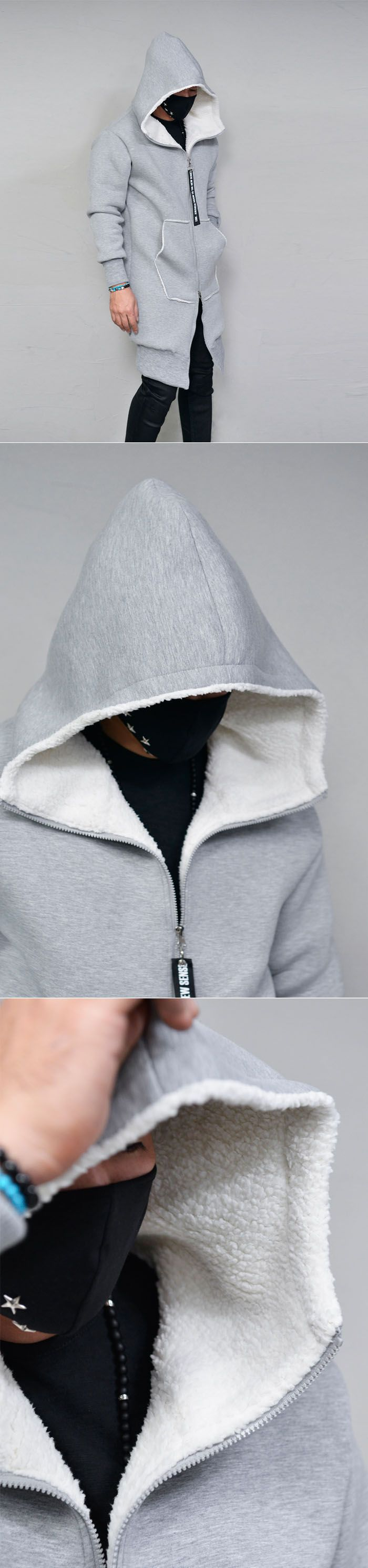 Full Shearling Long Neoprene Hood-Jacket 282 by Guylook.com  Top quality neoprene shell with thick & warm fulll faux shearling lining Generously sized to flatter most any body shape Big hood & edge print taping accent on the zip