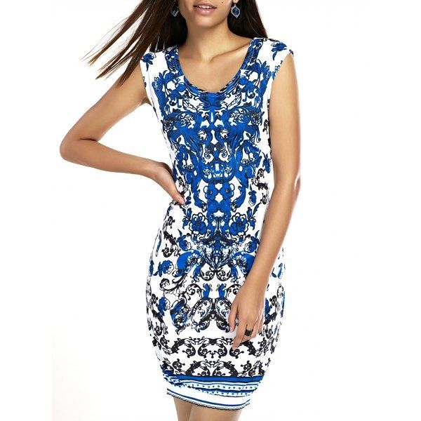 14.23$  Watch here - http://di4gh.justgood.pw/go.php?t=188972901 - Stylish Women's Scoop Neck Printed Bodycon Dress