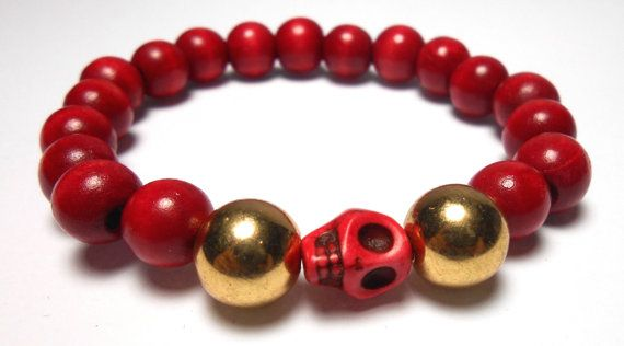 Red Skull Stretch wood bead Bracelets  Arm Candy  by ShopJosette