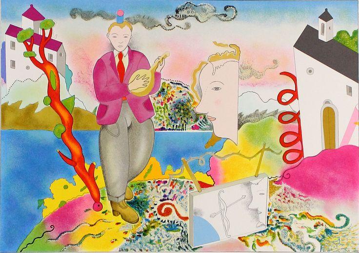 Luca Alinari, Carte castello crollo, Serigrafia a colori, 50 x 60 cm, firmata dall'Artista, numerata