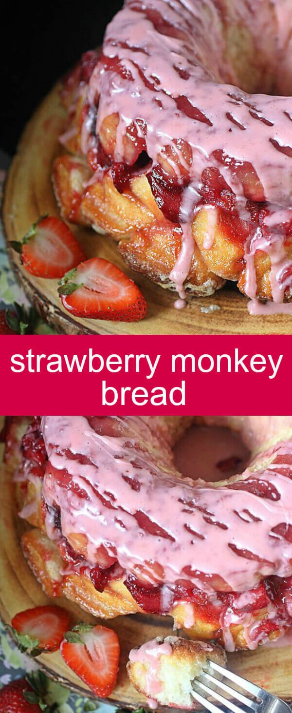 Strawberry Monkey Bread {A Delicious Homemade Pull Apart Bread} bread/strawberry/pull apart A tasty twist on a classic – This Strawberry Monkey Bread with deliciously macerated strawberries is perfect for breakfast or brunch! via @tastesoflizzyt