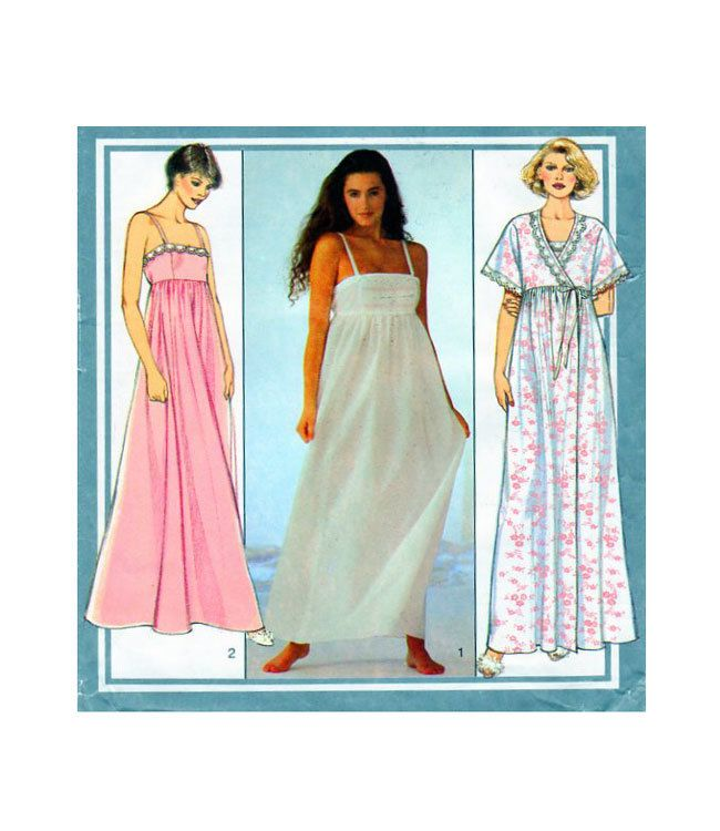 Womens Sleepwear Style 4308 Sewing Pattern Nightdress with Empire Waist & Spaghetti Straps, Dressing Gown/Robe Lace Accents Size 10-12 by FindCraftyPatterns on Etsy