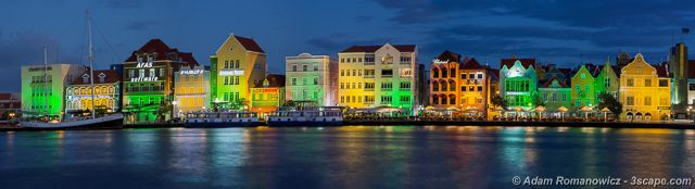 Willemstad Curacao at Night Panoramic -  Netherlands Antilles from http://3scape.com #tropical #islands #panoramic #art #prints