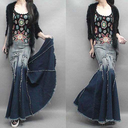 2015 moda gradiente borla Patchwork expansão inferior Denim saia jeans fino Hip…: