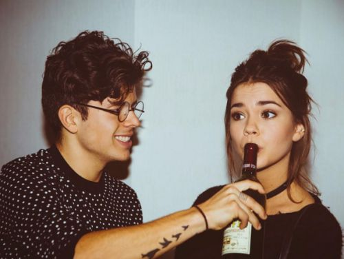 @riddhisinghal6 /maia mitchell and rudy mancuso, elegant romance, cute couple, relationship goals, prom, kiss, love, tumblr, grunge, hipster, aesthetic, boyfriend, girlfriend, teen couple, young love, hug image