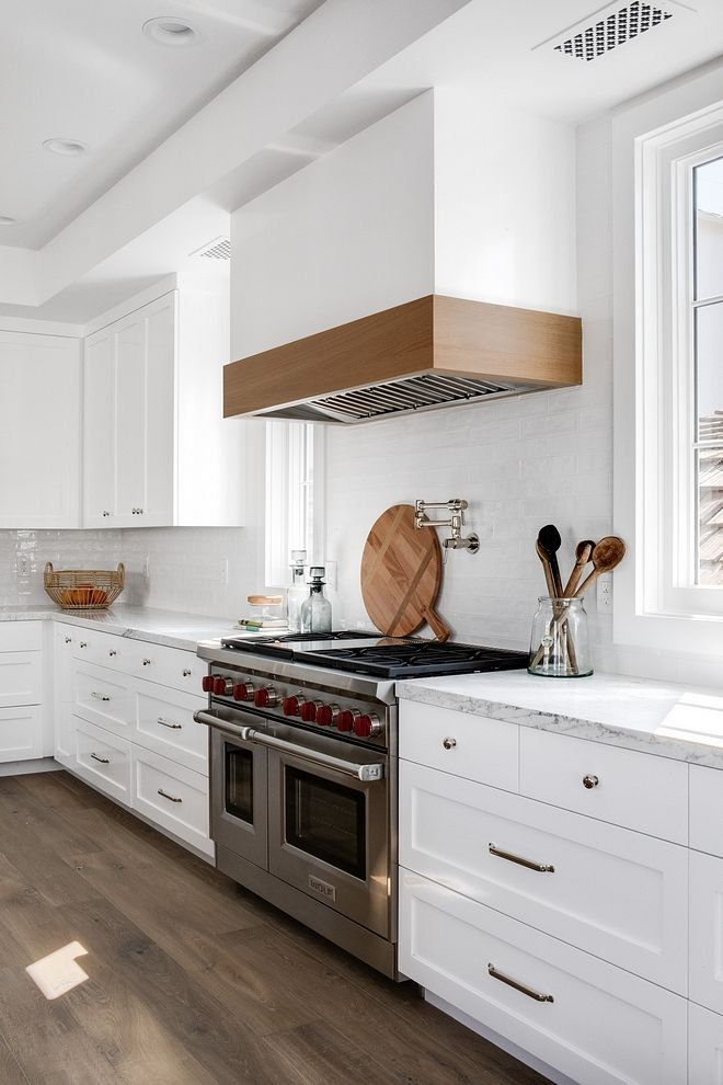 Kitchen Mixed Shaker And Flat Front Cabinetry With Kitchen 2x10 White Gloss Subway Tile Backsp Kitchen Hood Design Kitchen Remodel Small Custom Kitchen Remodel