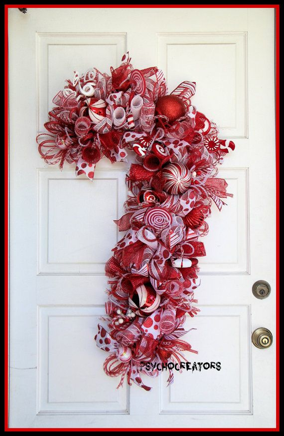 XL Candy Cane Wreath Christmas Red White Deco Mesh