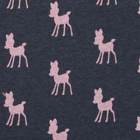Tissu sweat faon bambi rose brillant - Bleu marine