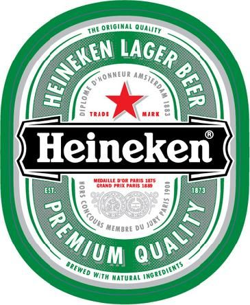 "We also like the font here too, the ""Heineken"" in the middle ribbon."