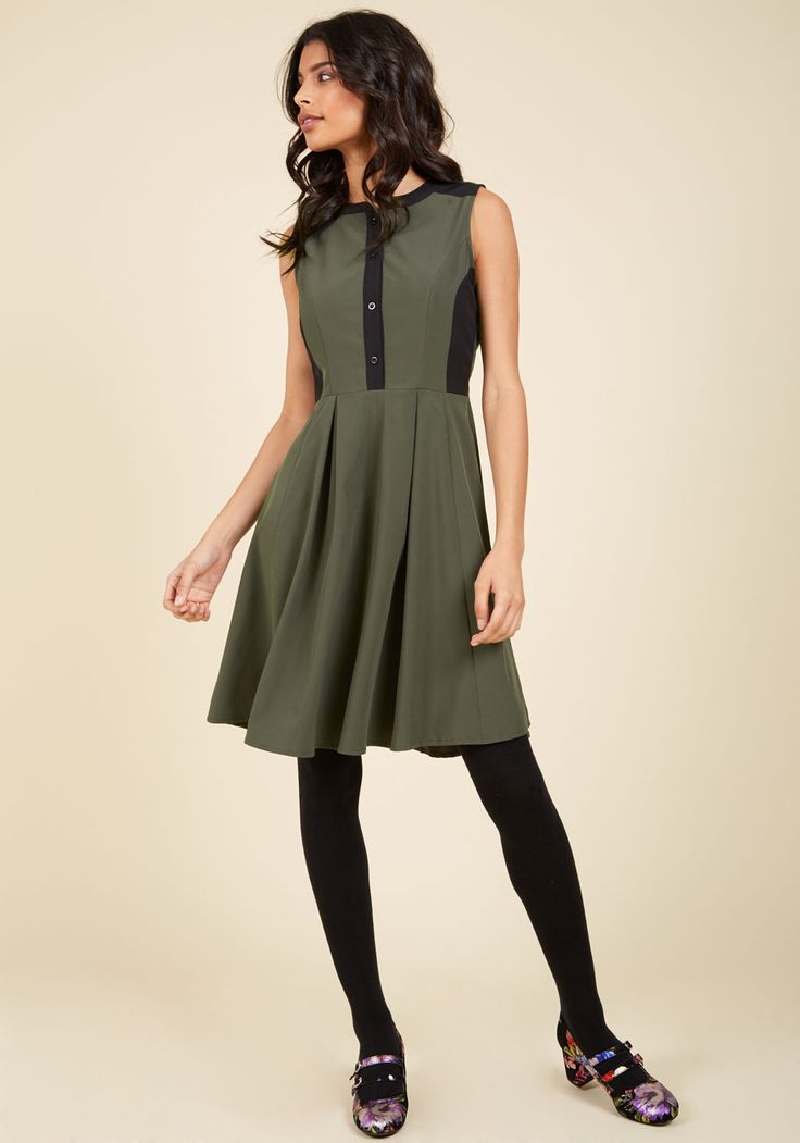 Business Over Bianco Shirt Dress in Olive. Pour a pinot for you and your partner, and get down to collaborating with this army green dress driving your focus and fashionable professionalism! #green #modcloth