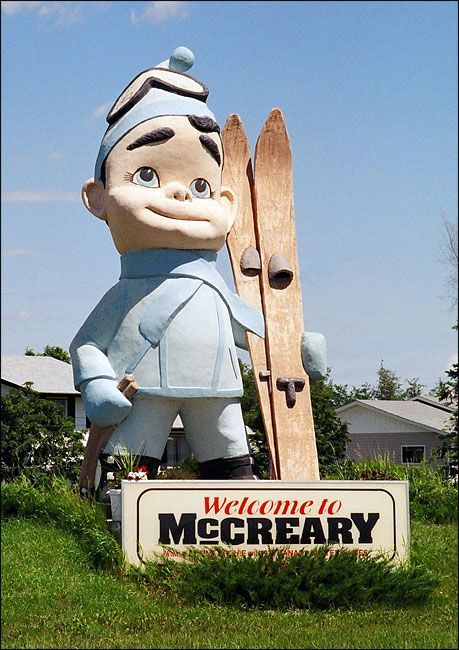 """Alpine Archie"" sculpture in McCreary, Manitoba, CANADA. The sculpture was built for the 1979 Canada Winter Games."