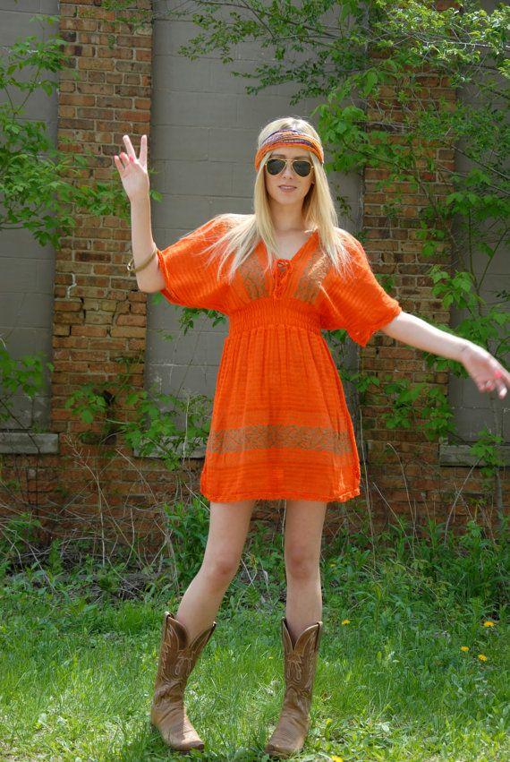 Orange mini dress summer boho sun dress by RoseleinRarities