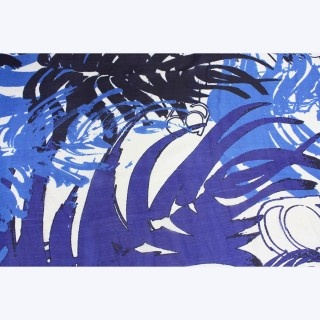 Peacock Silk Scarf by Juniper Hearth. Indian, hand screen printed in royal blue and purple. Vibrant and eyecatching. $79.