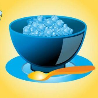Cubos de hielo 3d con un tazón