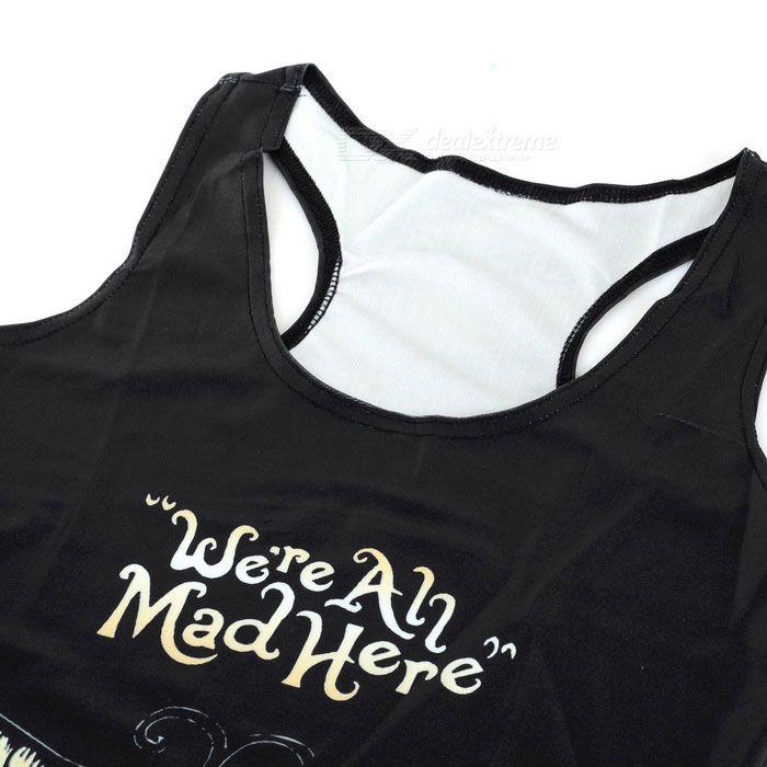 Women's Toothy Smile Pattern Slim Nylon + Spandex Vest Top - Black