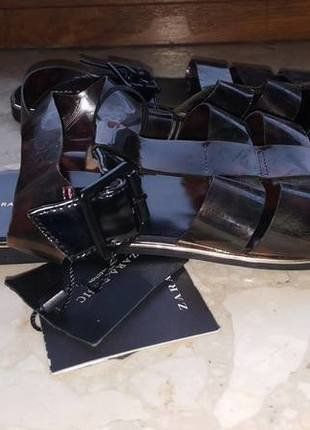 czarne buty damskie dziewczęce ZARA 36 skórzane