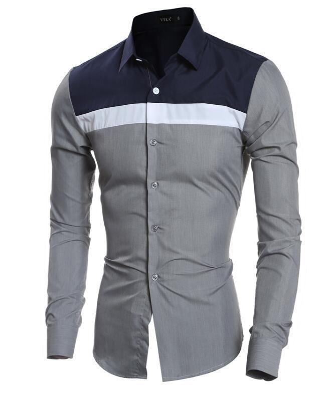 02200c31690 Mens Shirts Long Sleeve T Shirts Slim Fit Formal Dress Tops Splice Casual  Shirts