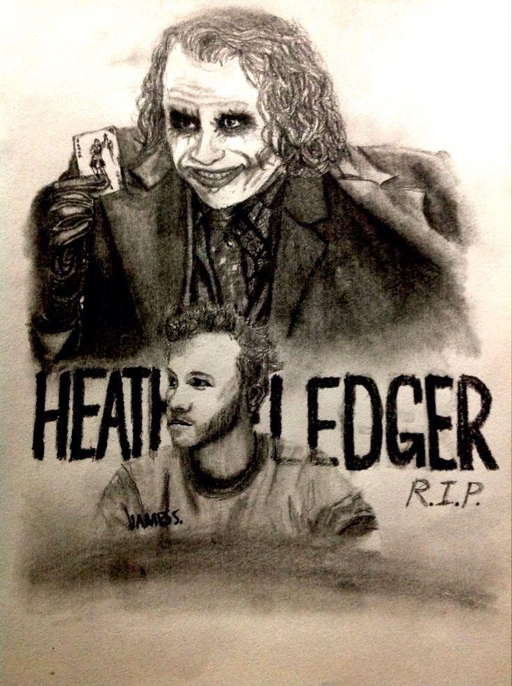 Celebrity Sketch of Heath Ledger (reference to 'The Dark Knight')