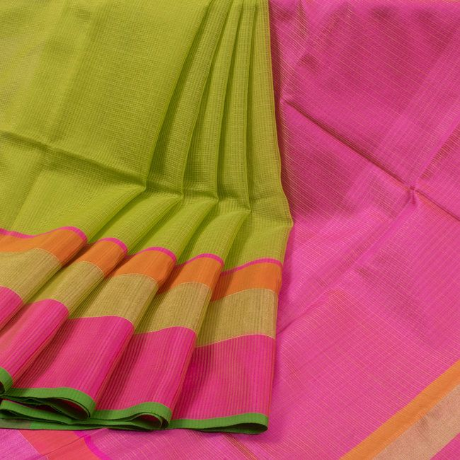 Buy online Handwoven Green Maheshwari Silk Cotton Saree with Multicolour Zari Border & Kota Checks 10013973