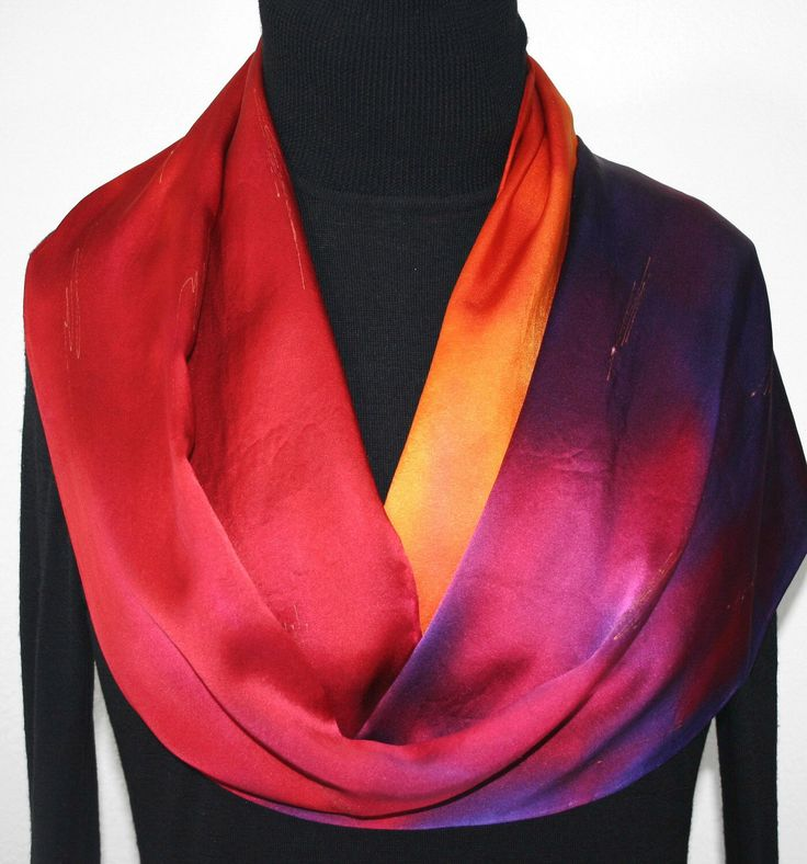 Red Silk Scarf. Orange Hand Painted Scarf. Handmade Silk Satin Shawl SPANISH KISS. Birthday Gift. Gift-Wrapped. Offered in Two SIZES by SilkScarvesColorado on Etsy https://www.etsy.com/listing/161374868/red-silk-scarf-orange-hand-painted-scarf