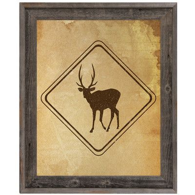 """Click Wall Art 'Deer Sign Stained' Framed Graphic Art on Canvas Size: 16.5"""" H x 13.5"""" W x 1"""" D"""