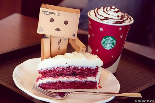 amazon, box, box robot, cake, coffee