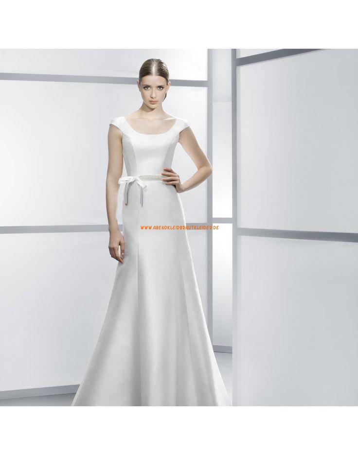 Günstige Rund-Ausschnitt kurz-Schleppe A-linie Hochzeitskleider Vestidos de novia - Jesús Peiró