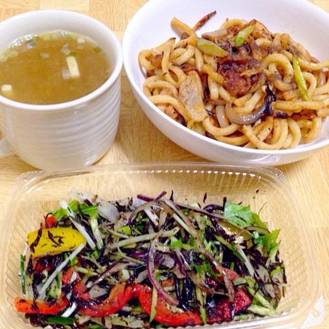 ひじきのバルサミコ酢サラダはオーガニック惣菜屋さんの - 38件のもぐもぐ - ゴマ風味&オイスターソースの焼うどん(讃岐)・ひじきのバルサミコ酢サラダ・シジミの味噌汁 by taroumasaydyZ