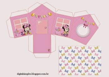 Minnie Bebé: Caja con Forma de Casa para Imprimir Gratis.