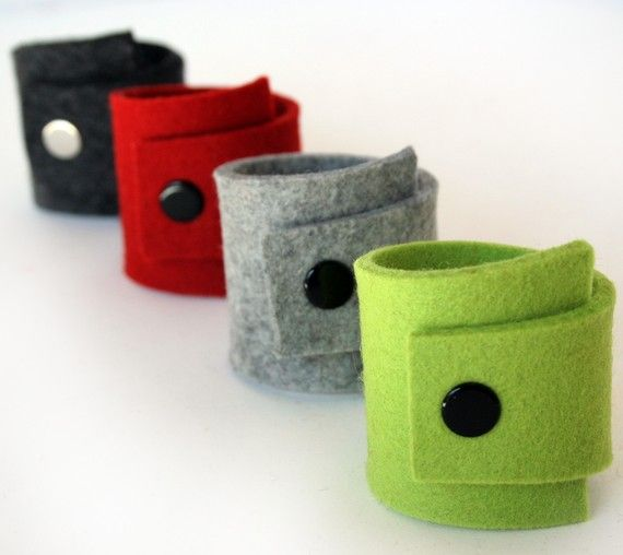 Felt Napkin Rings in Red Black Lime and Gray by fuzzylogicfelt, $20.00