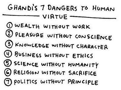 Ghandi's Seven Dangers to Human Virtue. Thanks Tia Morris (NJ)